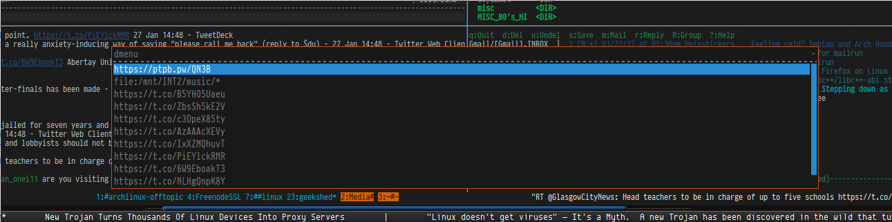 st terminal : open URLs simply with dmenu or rofi   cirrus_minor